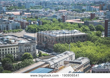 Berlin Germany - june 9 2017: Aerial view of the Martin Gropius Bau in Berlin Kreuzberg Germany.