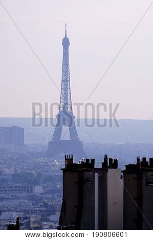 a view from distance of the Eiffel Tower and the rooftops of Paris