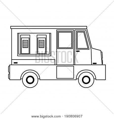 food truck sideview icon image vector illustration design  single black line