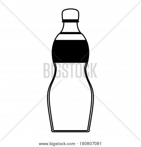 plastic bottle with drink or beverage icon image vector illustration design  single black line