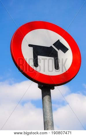 Sign that tells that dogs are forbidden