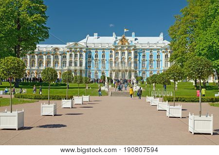 04.06.2017 .Russia.Pushkin.The residence of Catherine the great in Tsarskoe Selo.Architectural monument of history.