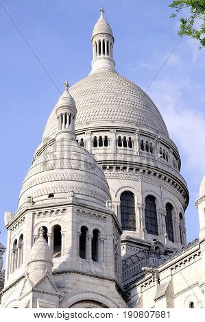 The main dome of the Sacre Coeur in Paris France