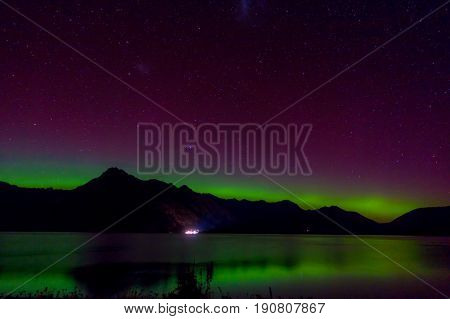 Aurora Australis and milky way over Lake Wakatipu, Kinloch, New Zealand South Island