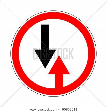 Illustration of Circle Priority Sign. Give Way to Oncoming Traffic Sign