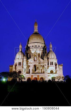 The Sacre Coeur in Paris at night