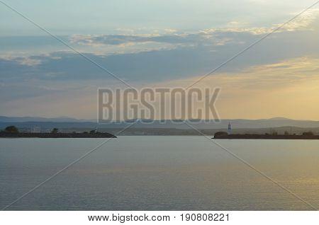 sundown bay sunset sea clouds seascape landscape