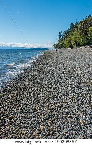 A view of the shoreline at Lincoln Park in West Seattle Washington.