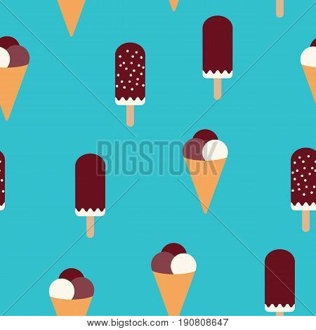 Summer mood pattern with sweet ice cream. Texture with sweet desserts ice cream fudge sundae and cones