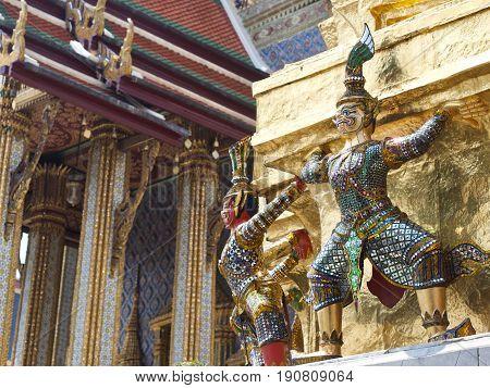Hanuman guardian statues, The Grand Palace, Bangkok, Thailand.