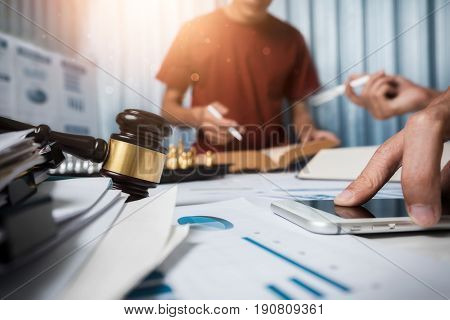 Team Of Business Lawyer Hard Working In Office, The Attorney Team Is Consulting For Justice.