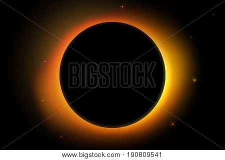 Full sun eclipse. Solar vector illustration with stars on back background.