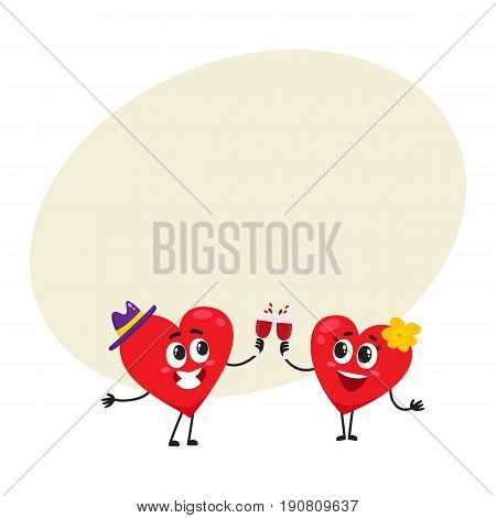 Two hearts clinking glasses, celebrating, couple in love concept, cartoon vector illustration with space for text. Funny couple of hearts with glasses, Valentine day, wedding celebration concept