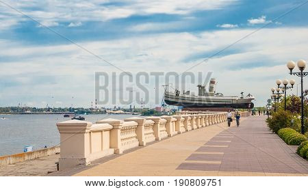 Nizhnevolzhskaya Embankment and a boat-monument Hero in Nizhny Novgorod. Russia, Nizhny Novgorod. September 12, 2016
