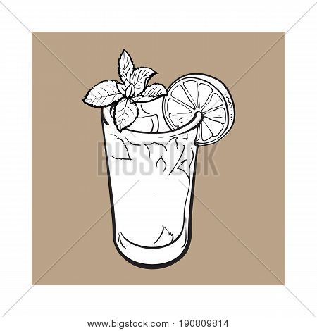 Tall glass full of freshly squeezed cold lime juice with ice and straw, sketch style vector illustration on brown background. Alcoholic cocktail with lime