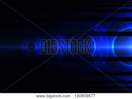 blue frequency circle technology abstract background, wave overlap digital template, vector illustration