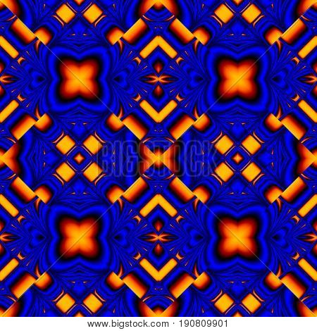 stylish seamless pattern reflecting and refracting elements of the rhombic structures in fire colors