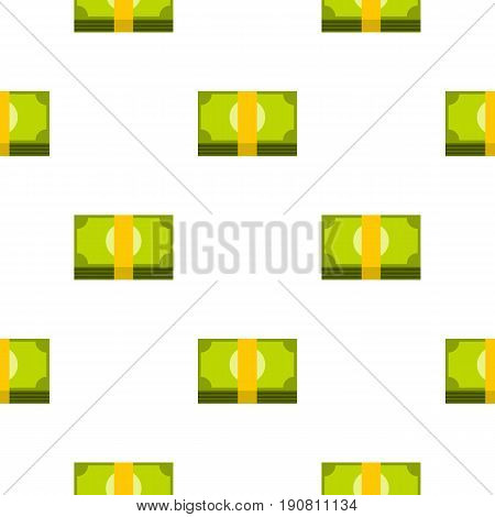 Bundle of money pattern seamless background in flat style repeat vector illustration