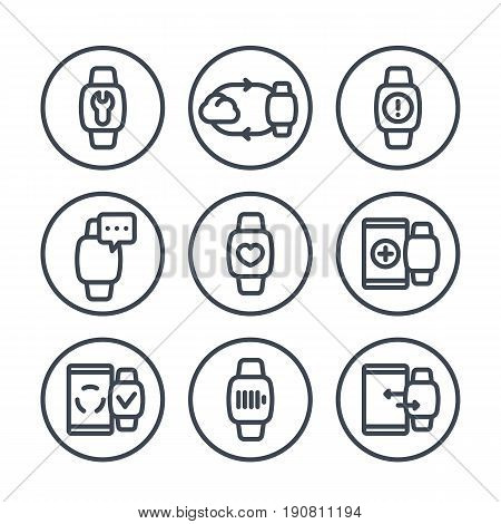 smart watch line icons in circles over white, fitness app, synchronization with cloud or smartphone, wearable device, charging,