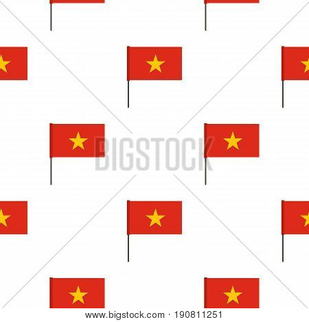 Flag of Vietnam pattern seamless background in flat style repeat vector illustration