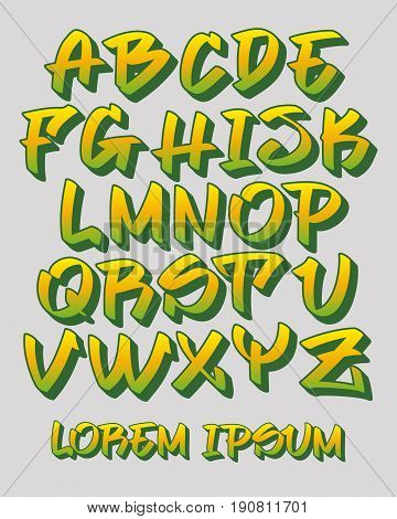 Vectorial font in readable graffiti hand written 3D style. Capital letters alphabet. Customizable colors.