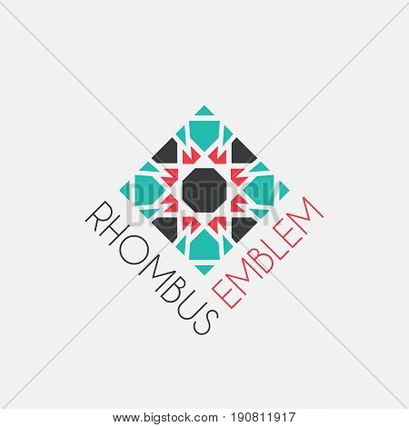 Rhombus mosaic emblem. Vector sign with geometric ornament