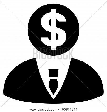 Banker vector icon. Flat black symbol. Pictogram is isolated on a white background. Designed for web and software interfaces.