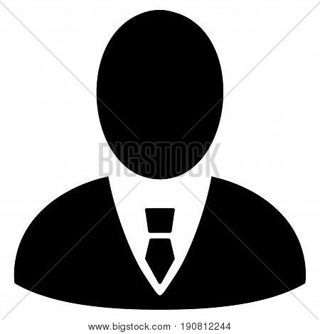 Boss vector icon. Flat black symbol. Pictogram is isolated on a white background. Designed for web and software interfaces.