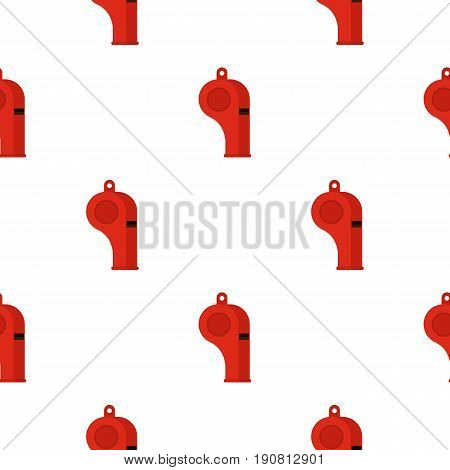 Red sport whistle pattern seamless background in flat style repeat vector illustration