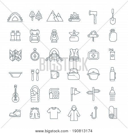 Summer camping thin line icons. Vector flat outline graphics. Outdoor recreational activity. Hiking tourism tools, clothes, objects. Wild nature travel. Forest camp equipment. Mountain exploring