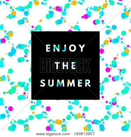 Enjoy the summer neon memphis 80x background with dots texture. Minimal printable journaling card, creative card, art print, minimal label design for banner, poster, flyer.