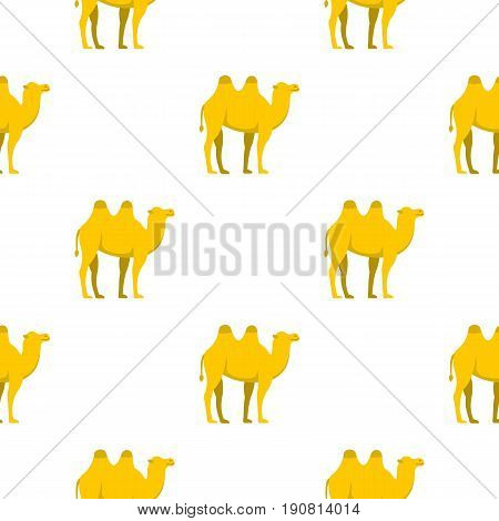 Yellow camel pattern seamless background in flat style repeat vector illustration