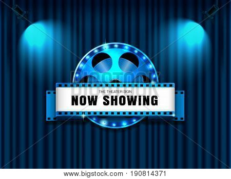 theater sign film roll on curtain with spotlight vector illustration
