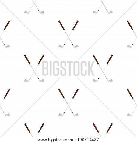 Crossed golf clubs pattern seamless background in flat style repeat vector illustration