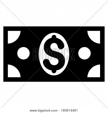 Dollar Banknote vector icon. Flat black symbol. Pictogram is isolated on a white background. Designed for web and software interfaces.