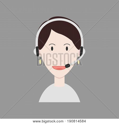 Woman operator vector avatar in flat style.