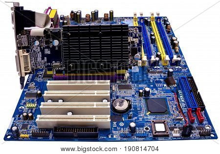 Close up old motherboard Isolated on white background