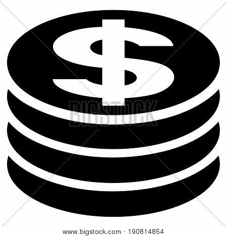 Dollar Coin Column vector icon. Flat black symbol. Pictogram is isolated on a white background. Designed for web and software interfaces.
