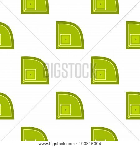 Green baseball field pattern seamless background in flat style repeat vector illustration