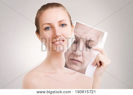 blond female woman releases her skin from wrinkles