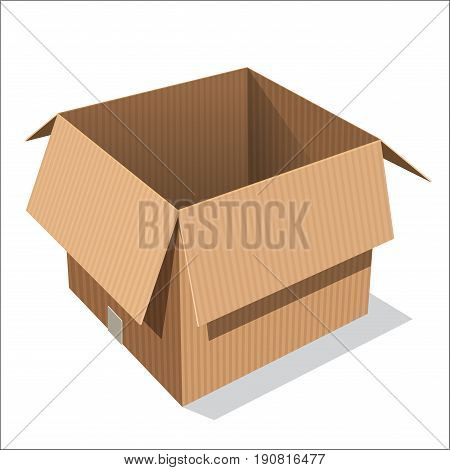 Isolated Open cardboard box, opened emty box on white background - Vector Illustration.