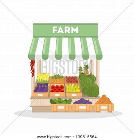 Isolated farm shop on white background. Fresh vegetables and fruits.