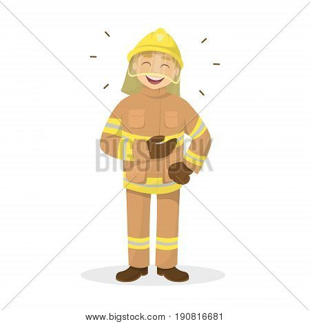 Isolated laughing fireman on white background. Man in orange uniform.