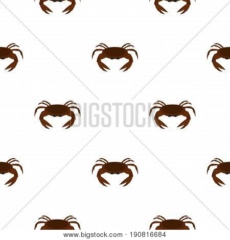 Edible brown crab pattern seamless background in flat style repeat vector illustration