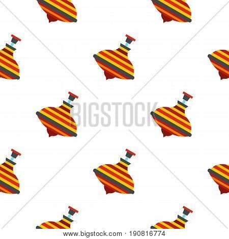 Colorful spinning top pattern seamless background in flat style repeat vector illustration