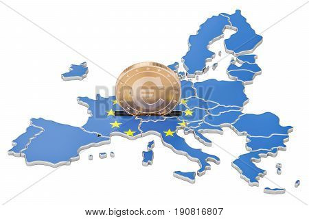 Investments in the European Union business concept. 3D rendering