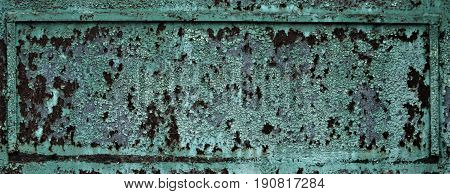 Fragment Of Rusty Metal Plate Surface Texture With Green Paint