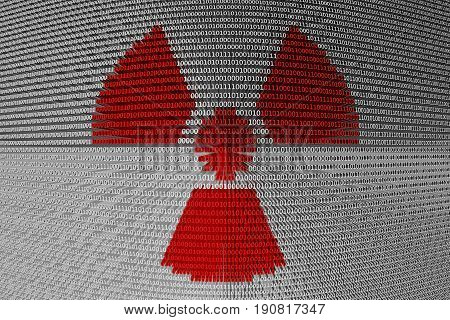 radiation is represented as a binary code 3D illustration