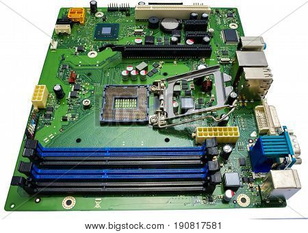 close up computer motherboard isolated on white background