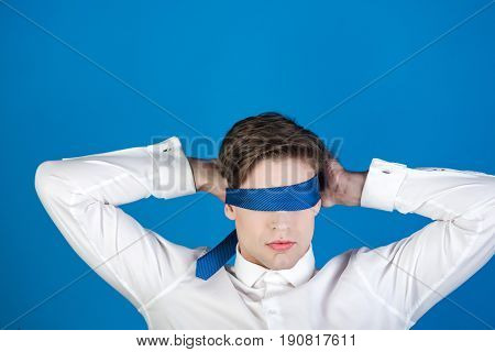 Tie On Face And Eyes Of Young Blindfolded Man, Businessman
